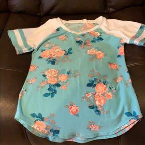 Other - Size Large girls 14 aqua blue flowery shirt